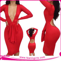 Wholesale Sexy Red Bodycon Open Breast Dress