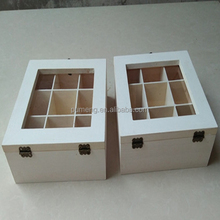 Customized White Wooden Box With Glass Top For Tea Packing