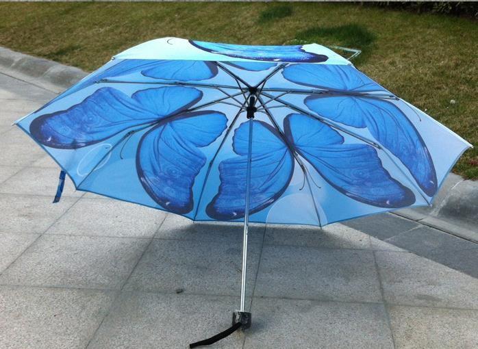 ограниченное по времени реальные не неавтоматическое м рыбалки взрослых дождь женщин мода женщин бабочка печати Зонты три складные