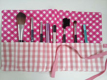 make up wrap or cosmetic brush wrap in pink gingham