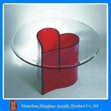 Modern Acrylic glass dining table with red heart-shape base