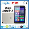 "New 8"" 3G Intel Baytrail-T table PC 1280*800 IPS support Win 8 & Android KitKat dual system"