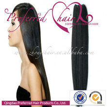 Premium Top Sale 24'' 1# Color Yaki Straight Style 100% Brazilian Remy Human Hair Extensions/Weft Accept Paypal Payment