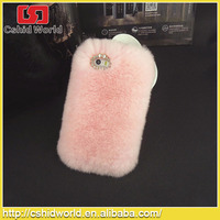 New arrival Luxury Winter Warm Back Cover Rabbit Fur phone case for iphone4/4S