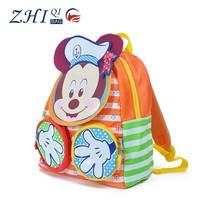 Latest ZQ-A-004 Nylon factory manufactue BSCI daily school Mickey Design cartoon kids school bag