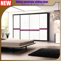 Guangzhou factory wholesale lastest bedroom wooden wardrobe closet sliding door designs