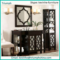 Antique Vanity With Sink French Style Bath Room Furniture Classic Wastafel With Mirror European Home Furniture
