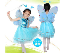 Wholesale mesh girls fairy dance dress with wings headband wand