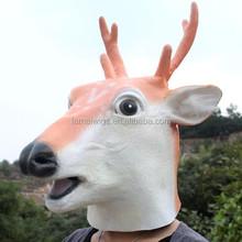 Halloween Creepy Sika deer head latex Rubber Face Mask