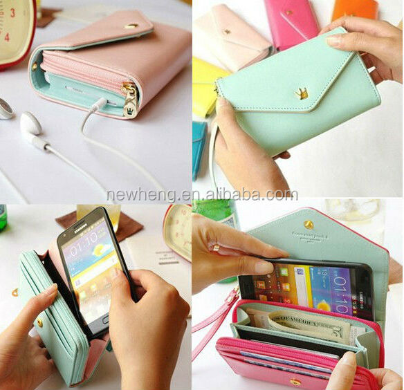 new arrival korean fashion candy colorful elegant top quality leather wallet case for iphone 4 4s 5