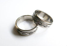 Rotatable waves Titanium Male Ring Stainless Steel Rings