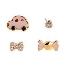 Fancy stud alloy crystal children lovely cartoon earrings
