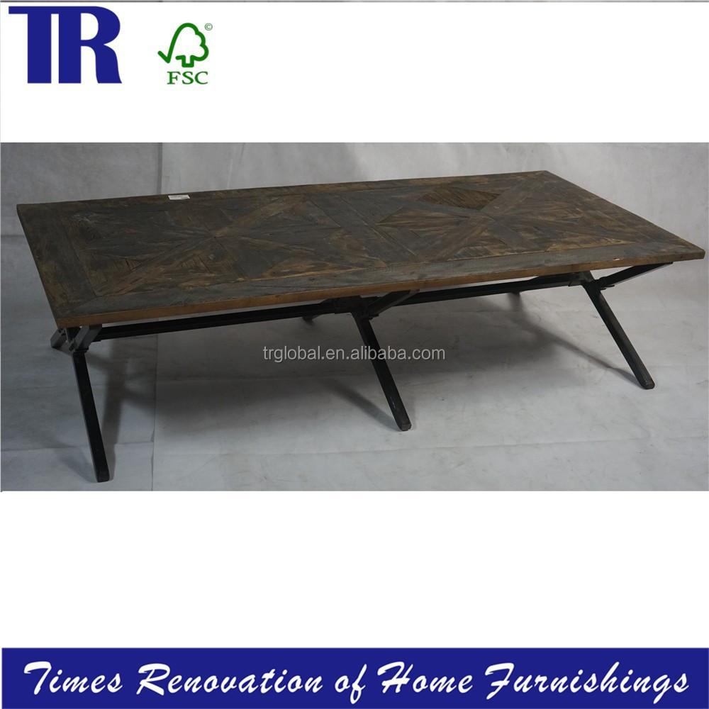 Solid Wood Coffee Table Oak Top Dining Table Metal Frame Coffee Table