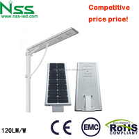 Most competitive price 120-130lm/W stand alone solar street light with 40w