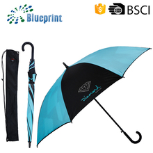 2015 Double canopy anti uv with self-pouch stick golf umbrella