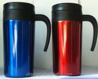 Hot stainless steel coffee mug with handle