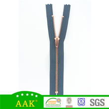 high quality rose gold teeth metal zipper with auto lock slider
