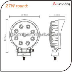 warranty 2 year high power IP67 12v 27w led work light for off road