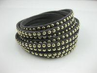 Fashion Rivet Wrapped Leather Bracelet Multi-layer Winding Leather Woman Bracelet