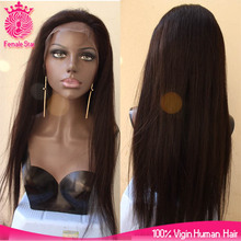 Paypal accept natural straight glueless lace front wig, long black straight mongolian hair wig