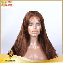 Nice looking #4 color straight human hair full lace wigs for white women Indian remy human wigs hair product