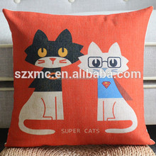 Newest soft kitty painting linen chair pillow for cat theme KTV room