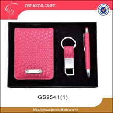 cheap business gift set pu leather business card holder and pen gift set