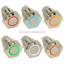 IP67 Waterproof 16mm Ring LED Metal Push Button Switch Car 12V