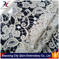 2015LATEST FLOWER DESIGN HEAVY METALLIC CORD WATER SOUBLE CHEMICAL LACE EMBROIDERY FABRIC