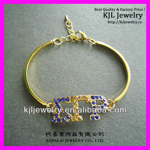 Greek Letter Bangle Bracelet