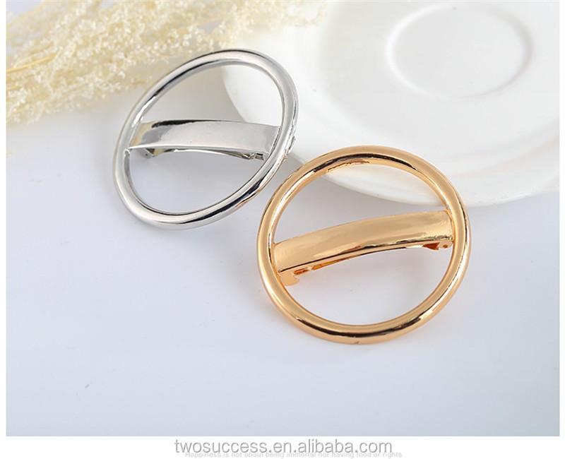 Fashion Woman Gold Metal Circle Slide Clip Hair Clip.jpg