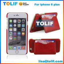 leather cell phone cases pu material wallet style flip cover for iPhone 6,crocodile grain leather case for iphone case 6
