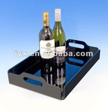 Black acrylic plastic tray for wine or drinking