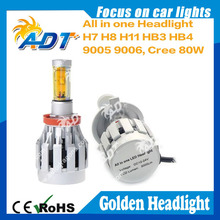 High Quality Auto/Motorcycle Golden Yellow USA CR Led Headlight Car Accessories H7 H8 H11 HB3 HB4 All In One Head Lamp