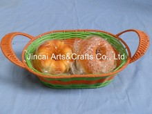 cheap plastic rattan woven bakery basket with handle for bread