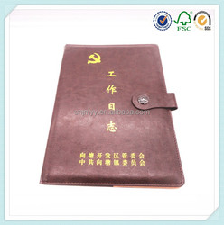 Gold stampling PU leather book cover with magnet closure
