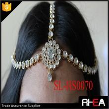Factory Directly Bridal Headpiece rhinestones indian wedding headchain indian kundun hair pieces hair accessory