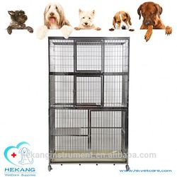 Durable and cost-effective veterinary instrument vet stainless steel three layer cat in cage