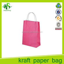 Colorful printing recycled plain shopping packaging kraft paper bag