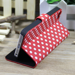 Fashion colorful polka dot design for iphone 5s premium leather phone case