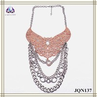Silver layers chain pendant clear water drop pendant rose gold butterfly medal indian necklace in china