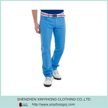Mens blue color high quality nylon/polyester blended fabric golf pants/Golf trousers custom