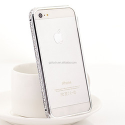 Luxury High-duty metal diamond-encrusted bumper case for iphone 5 case, hybrid bumper case for iphone 5