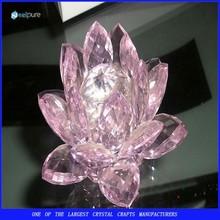 Weeding Gift Pink Crystal Lotus, Glass Flower Crystal Gift