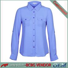 Wholesale fashion design long sleeve office blouse lady shirt design