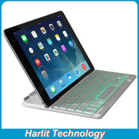For iPad Air 2 Ultrathin Aluminum Bluetooth Keyboard Case White For iPad Air Slim Aluminum Bluetooth Keyboard 7 Color Back Light