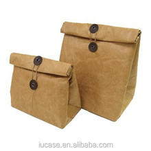 2015 hot selling food grade insulated flat handle grocery brown kraft paper bag