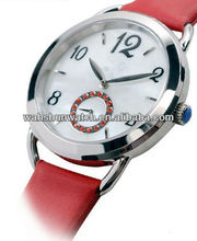 New brand name ladies watch fashion leather belt watches with ruby