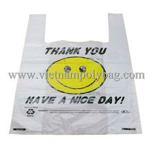 Cheap vest carrier poly plastic bag, t-shirt bag simple printing Thank you