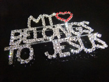 "wholesale brooch pin new fashion rhinestone brooch unique gift ""MY HEART/BELONGS/TO JESUS"" Word Pin"